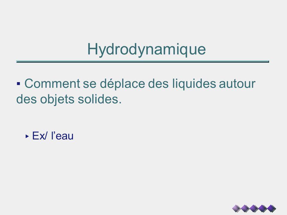 Hydrodynamique Comment se déplace des liquides autour des objets solides. Ex/ leau