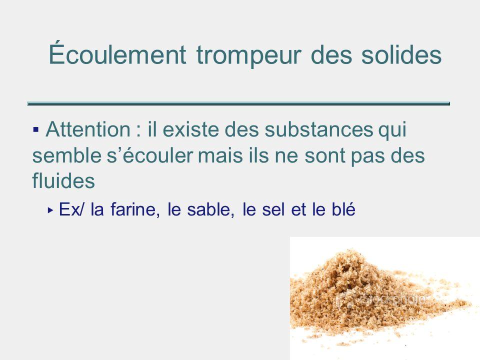Écoulement trompeur des solides Attention : il existe des substances qui semble sécouler mais ils ne sont pas des fluides Ex/ la farine, le sable, le
