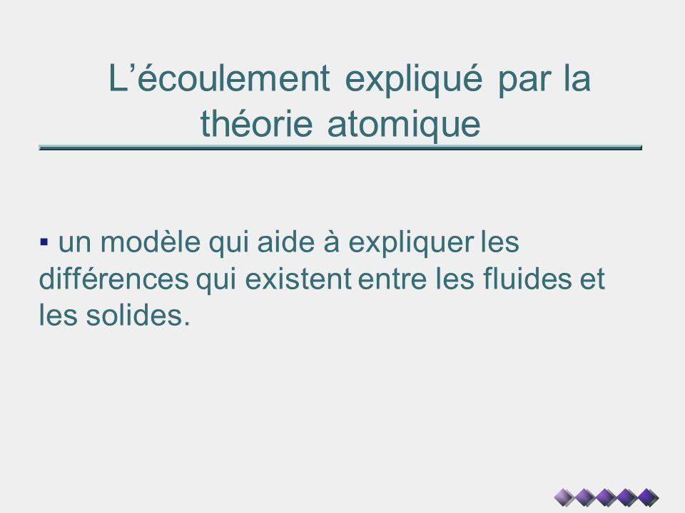 Lécoulement expliqué par la théorie atomique un modèle qui aide à expliquer les différences qui existent entre les fluides et les solides.