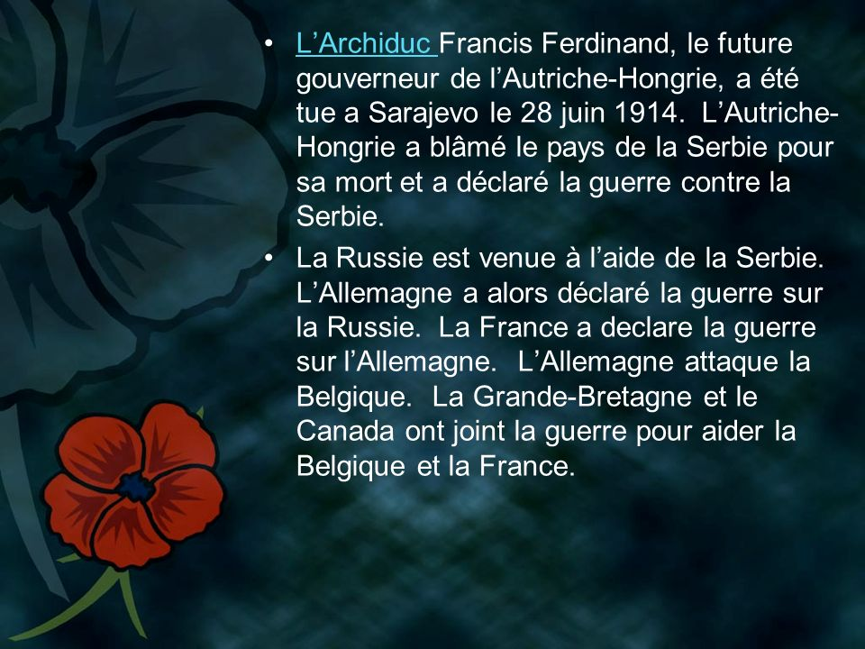LArchiduc Francis Ferdinand, le future gouverneur de lAutriche-Hongrie, a été tue a Sarajevo le 28 juin 1914.