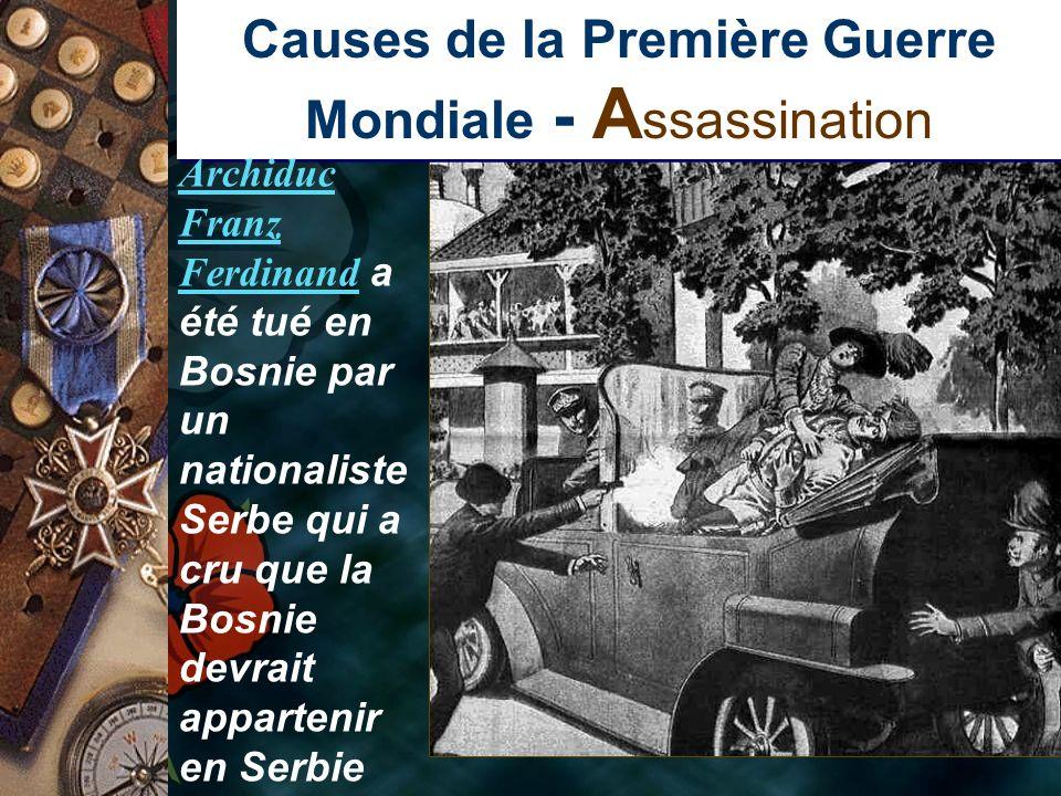 Causes de la Première Guerre Mondiale - A ssassination Archiduc Franz FerdinandArchiduc Franz Ferdinand a été tué en Bosnie par un nationaliste Serbe qui a cru que la Bosnie devrait appartenir en Serbie