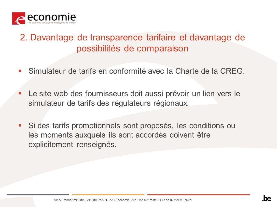 2. Davantage de transparence tarifaire et davantage de possibilités de comparaison Simulateur de tarifs en conformité avec la Charte de la CREG. Le si