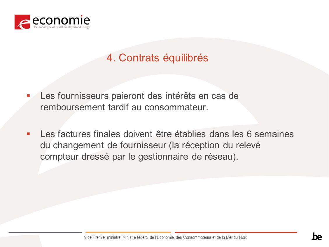 4. Contrats équilibrés Les fournisseurs paieront des intérêts en cas de remboursement tardif au consommateur. Les factures finales doivent être établi
