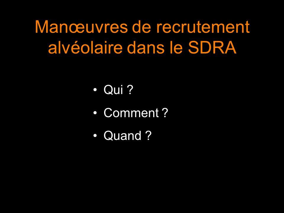 Manœuvres de recrutement alvéolaire dans le SDRA Qui ? Comment ? Quand ?