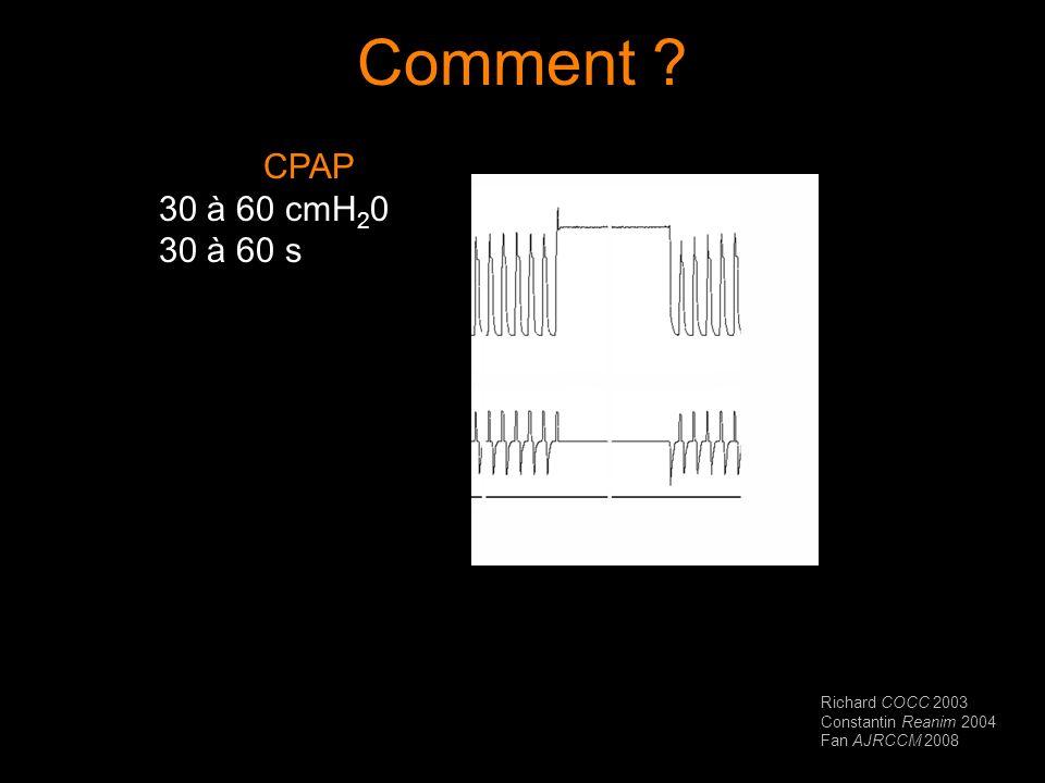 Comment ? CPAP 30 à 60 cmH 2 0 30 à 60 s Richard COCC 2003 Constantin Reanim 2004 Fan AJRCCM 2008