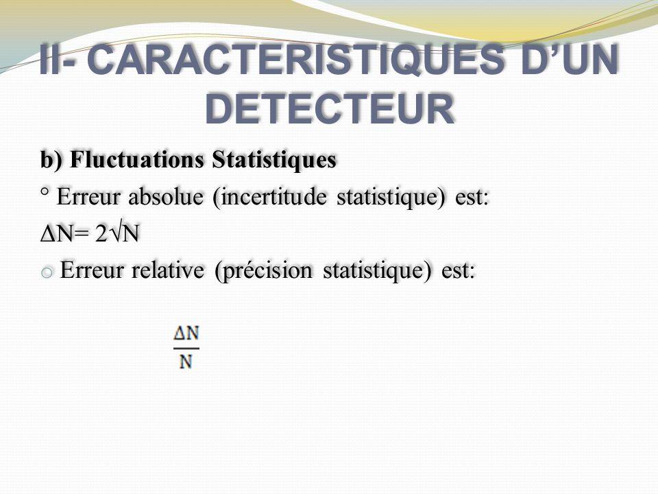 II- CARACTERISTIQUES DUN DETECTEUR b) Fluctuations Statistiques ° Erreur absolue (incertitude statistique) est: ΔN= 2N o Erreur relative (précision st