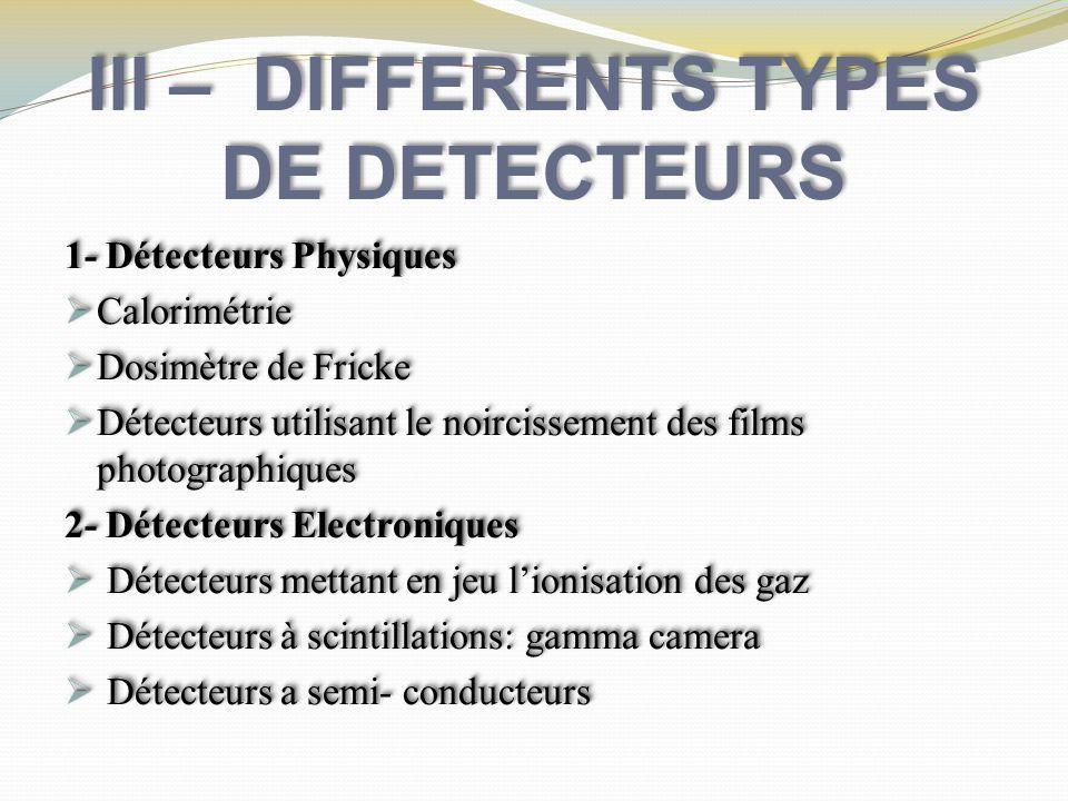 III – DIFFERENTS TYPES DE DETECTEURS 1- Détecteurs Physiques Calorimétrie Calorimétrie Dosimètre de Fricke Dosimètre de Fricke Détecteurs utilisant le