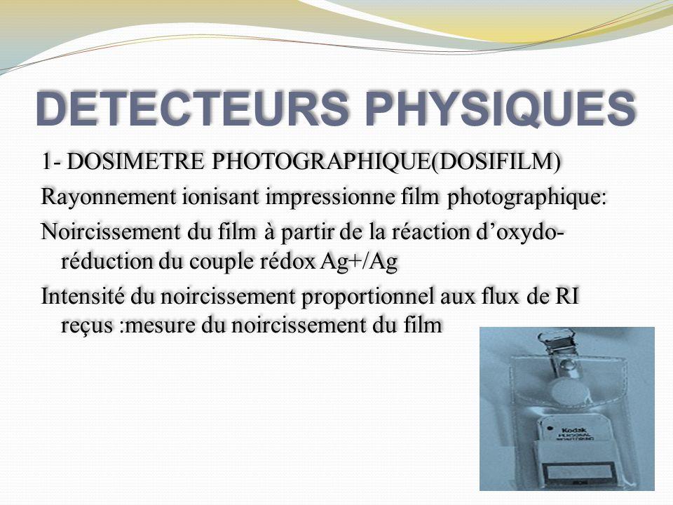 DETECTEURS PHYSIQUES 1- DOSIMETRE PHOTOGRAPHIQUE(DOSIFILM) Rayonnement ionisant impressionne film photographique: Noircissement du film à partir de la