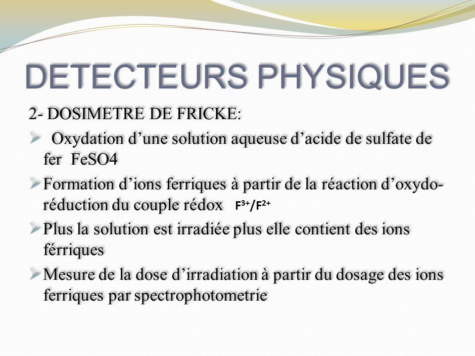 DETECTEURS PHYSIQUES 2- DOSIMETRE DE FRICKE: Oxydation dune solution aqueuse dacide de sulfate de fer FeSO4 Formation dions ferriques à partir de la r