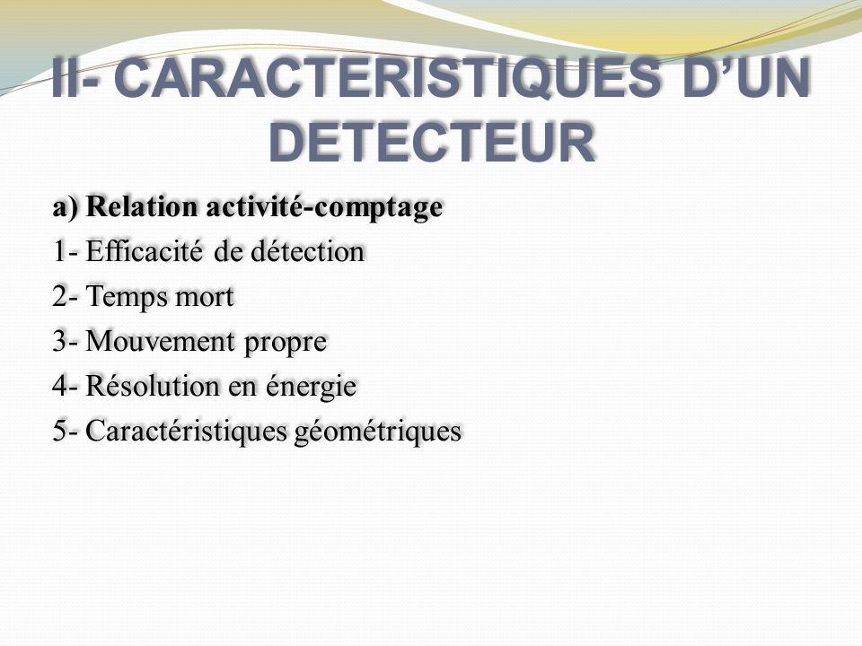 II- CARACTERISTIQUES DUN DETECTEUR a) Relation activité-comptage 1- Efficacité de détection 2- Temps mort 3- Mouvement propre 4- Résolution en énergie