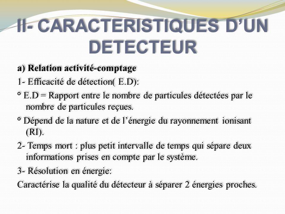 II- CARACTERISTIQUES DUN DETECTEUR a) Relation activité-comptage 1- Efficacité de détection( E.D): ° E.D = Rapport entre le nombre de particules détec