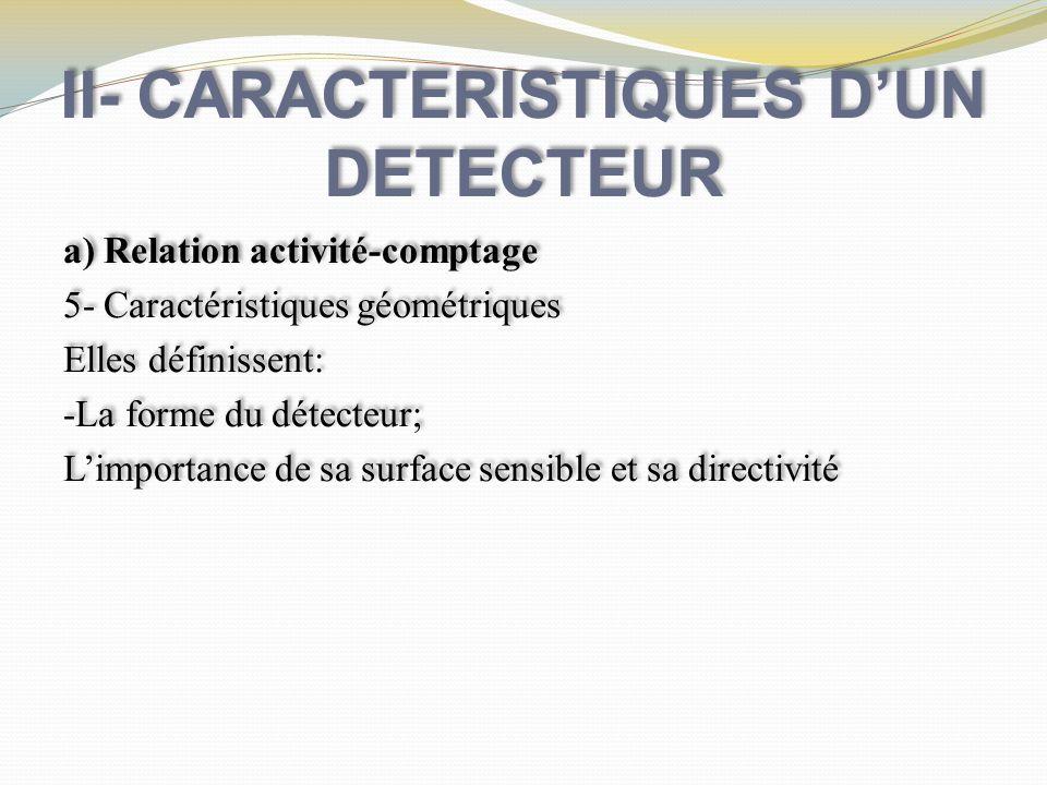 II- CARACTERISTIQUES DUN DETECTEUR b ) Fluctuations Statistiques ° Désintégrations radioactives et interactions des rayts avec la matière : phénomènes aléatoires ° N:nbre dimpulsions observées pendant Δt: 95% de chance pour que la vraie valeur inconnue soit dans N- 2N, N+2N b ) Fluctuations Statistiques ° Désintégrations radioactives et interactions des rayts avec la matière : phénomènes aléatoires ° N:nbre dimpulsions observées pendant Δt: 95% de chance pour que la vraie valeur inconnue soit dans N- 2N, N+2N