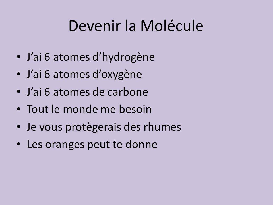 Devenir la Molécule Jai 6 atomes dhydrogène Jai 6 atomes doxygène Jai 6 atomes de carbone Tout le monde me besoin Je vous protègerais des rhumes Les o