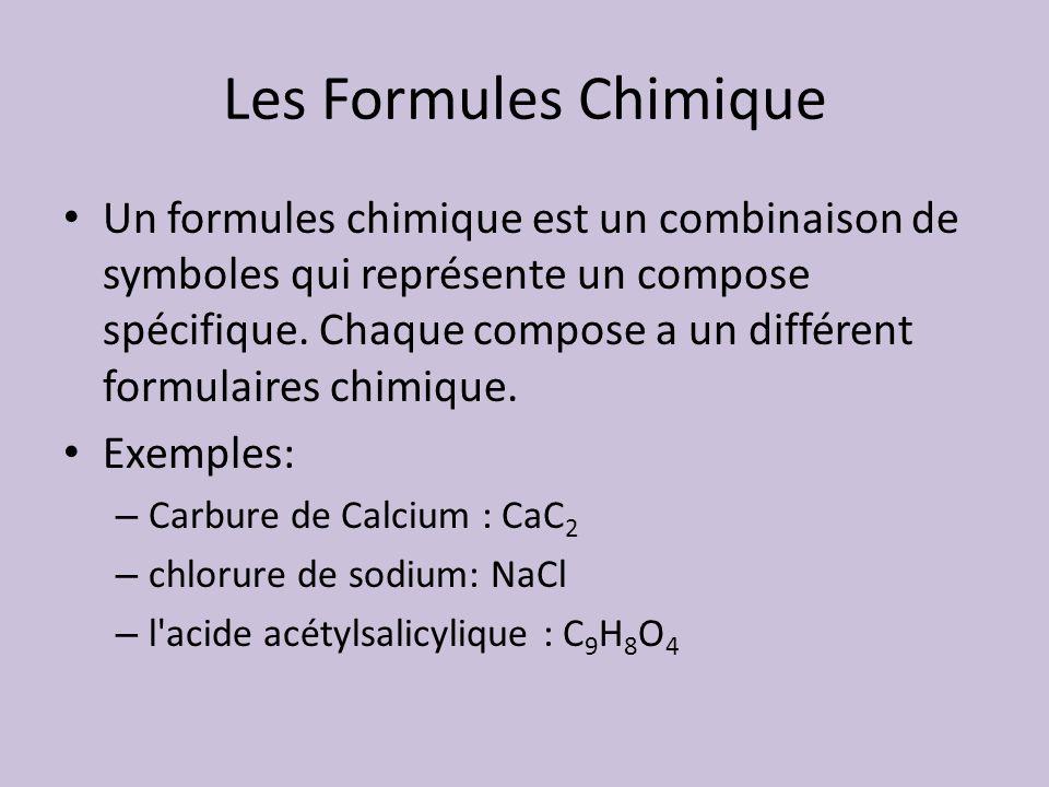Les Formules Chimique Un formules chimique est un combinaison de symboles qui représente un compose spécifique. Chaque compose a un différent formulai