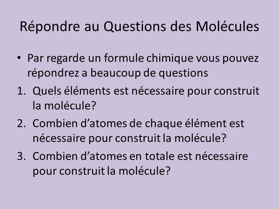 Répondre au Questions des Molécules Par regarde un formule chimique vous pouvez répondrez a beaucoup de questions 1.Quels éléments est nécessaire pour