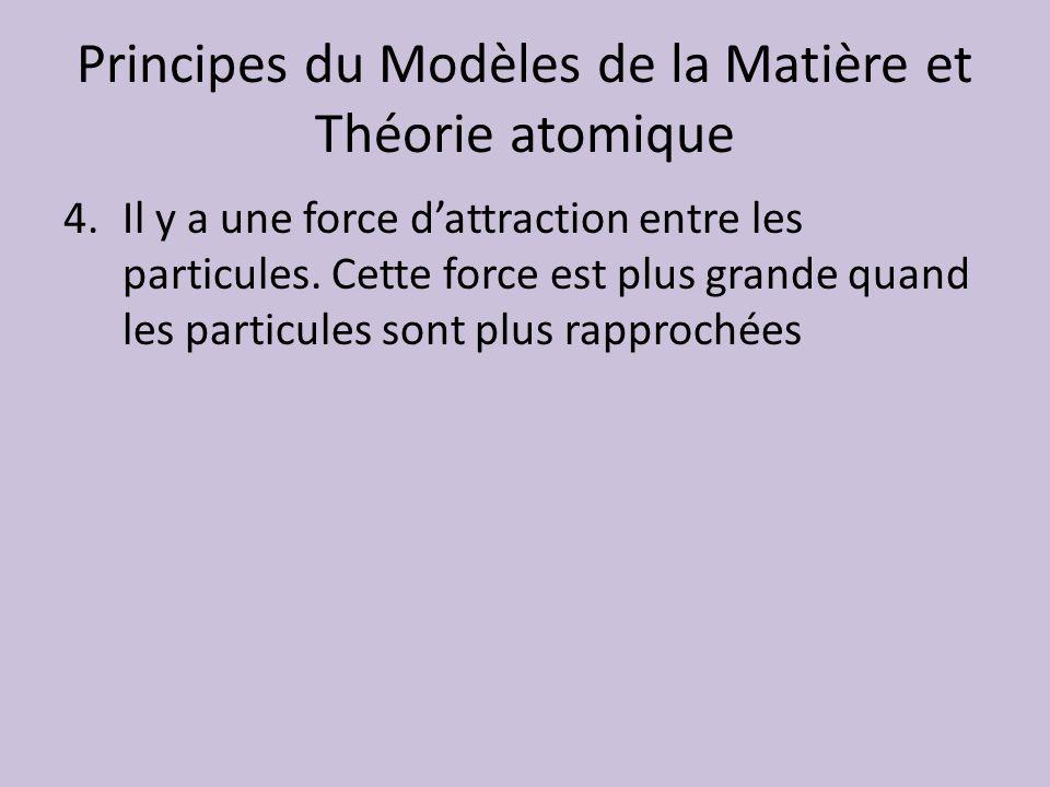 Principes du Modèles de la Matière et Théorie atomique 4.Il y a une force dattraction entre les particules. Cette force est plus grande quand les part