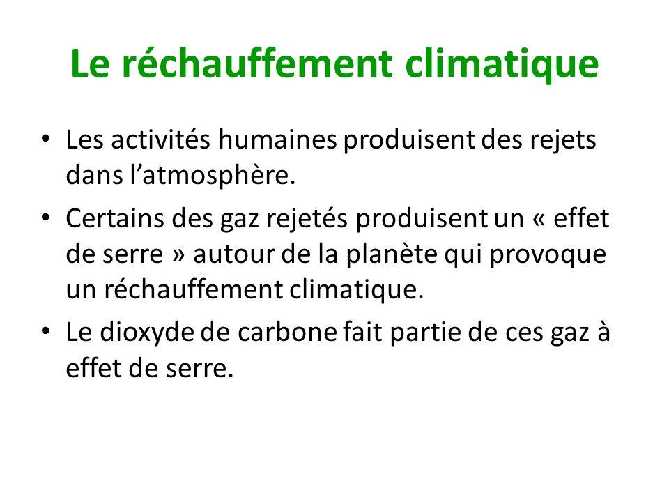 Le réchauffement climatique Les activités humaines produisent des rejets dans latmosphère. Certains des gaz rejetés produisent un « effet de serre » a