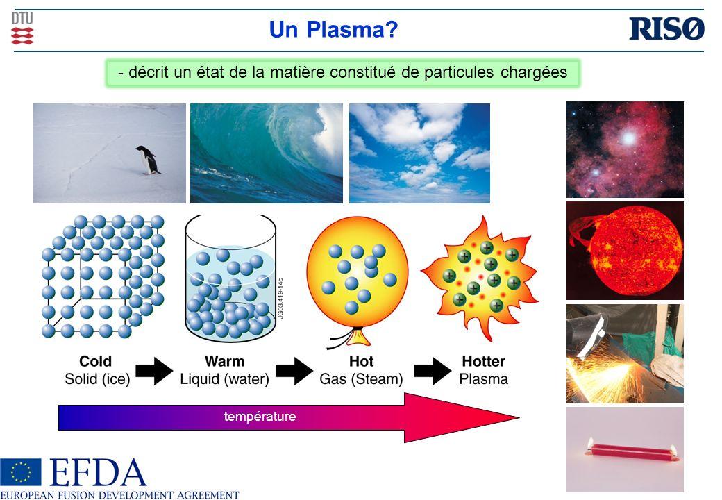 Un Plasma? température - décrit un état de la matière constitué de particules chargées