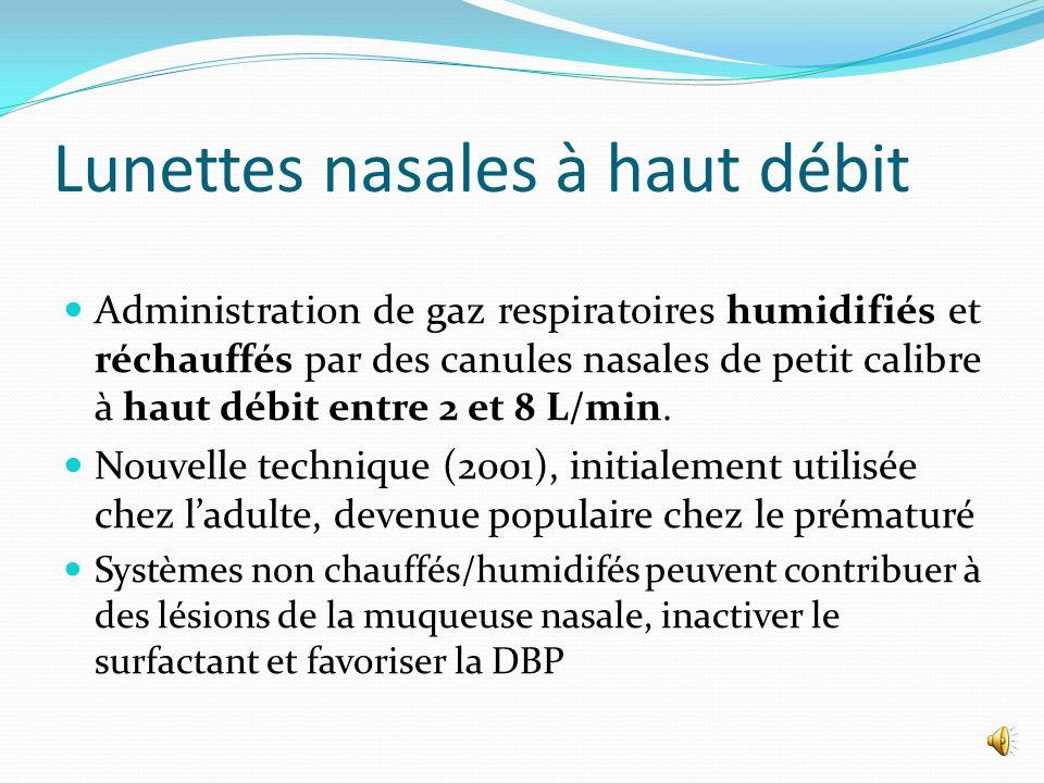 Ventilation mécanique non invasive Ventilation en pression positive conventionnelle mais administrée par voie nasale.