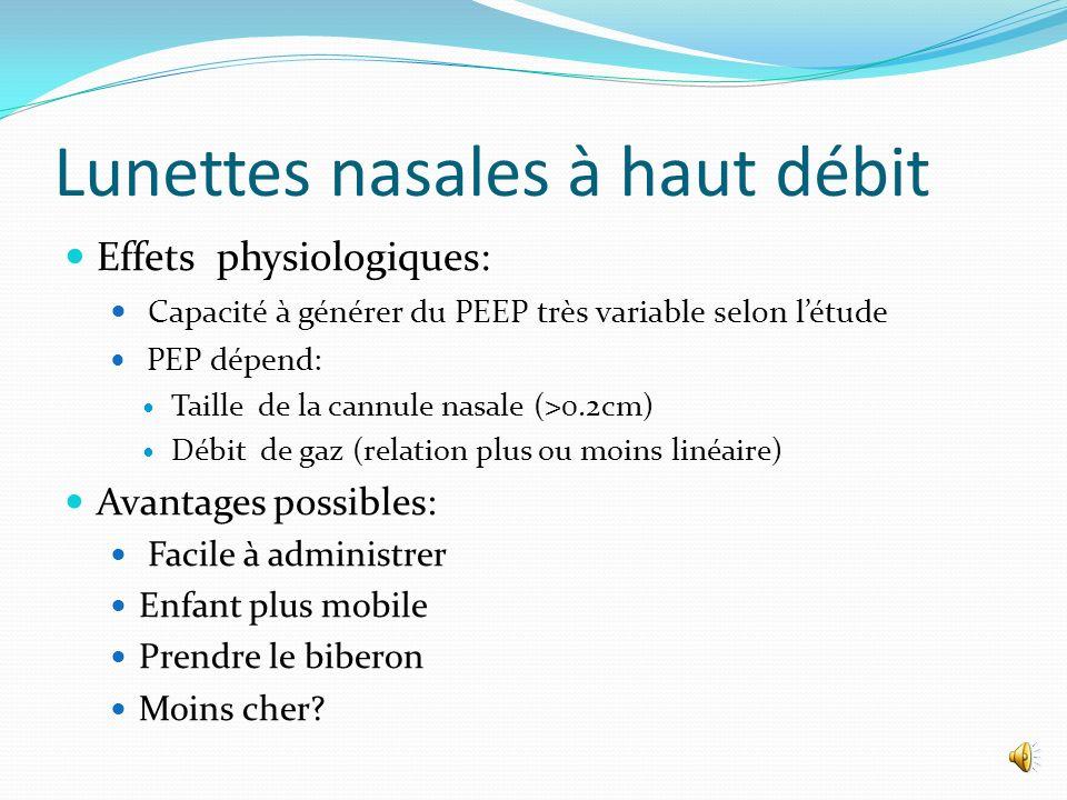 Lunettes nasales à haut débit Administration de gaz respiratoires humidifiés et réchauffés par des canules nasales de petit calibre à haut débit entre 2 et 8 L/min.