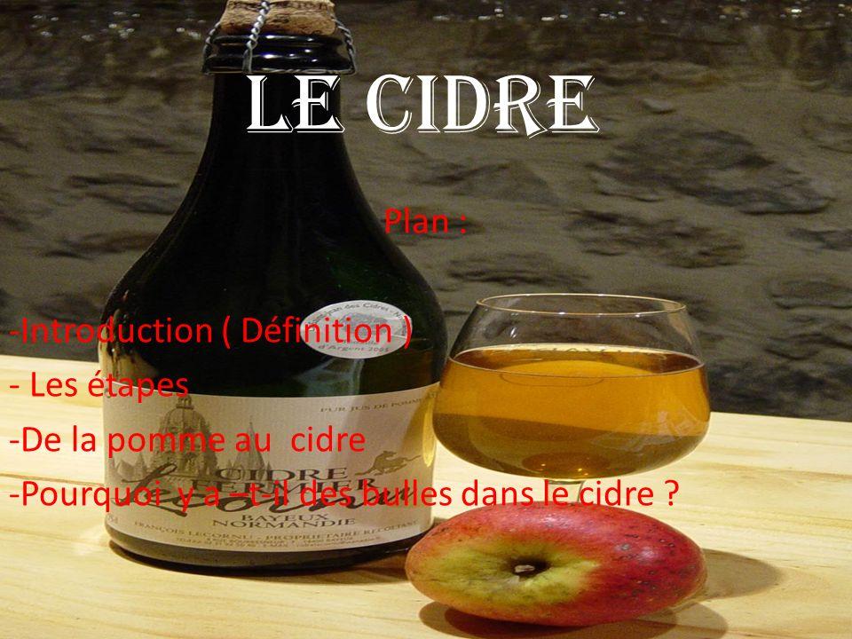 Le cidre Plan : -Introduction ( Définition ) - Les étapes -De la pomme au cidre -Pourquoi y a –t-il des bulles dans le cidre ?