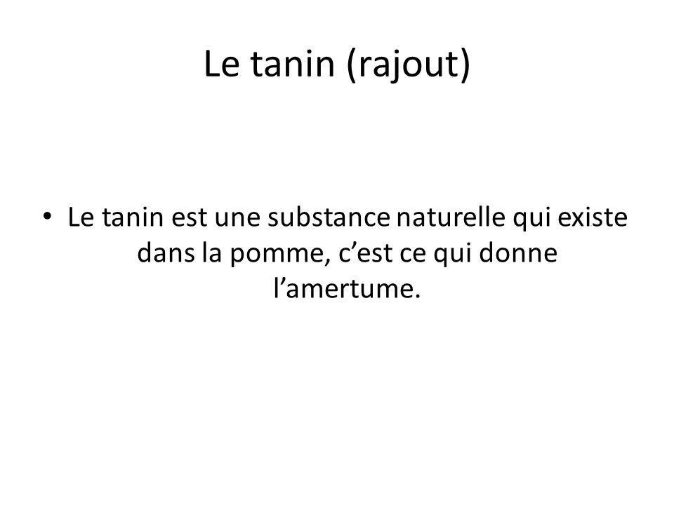 Le tanin (rajout) Le tanin est une substance naturelle qui existe dans la pomme, cest ce qui donne lamertume.