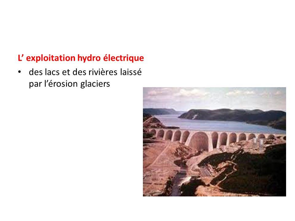 L exploitation hydro électrique des lacs et des rivières laissé par lérosion glaciers