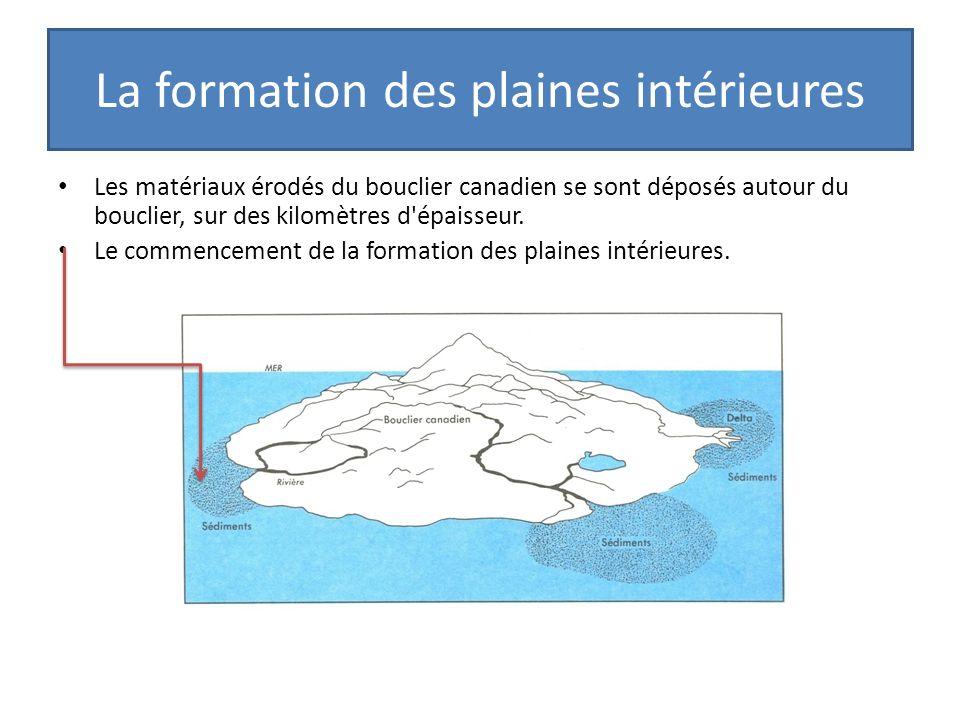 La formation des plaines intérieures Les matériaux érodés du bouclier canadien se sont déposés autour du bouclier, sur des kilomètres d'épaisseur. Le