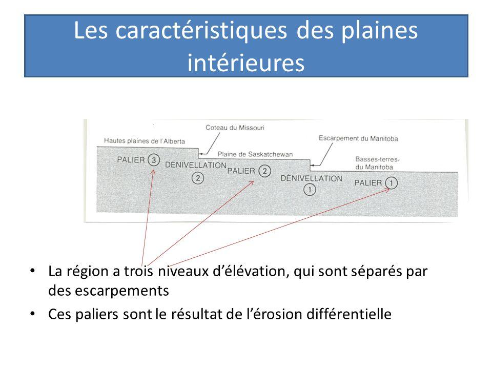 Les caractéristiques des plaines intérieures La région a trois niveaux délévation, qui sont séparés par des escarpements Ces paliers sont le résultat