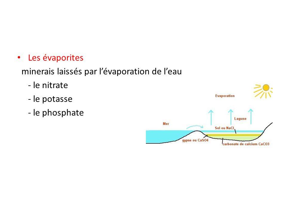 Les évaporites minerais laissés par lévaporation de leau - le nitrate - le potasse - le phosphate