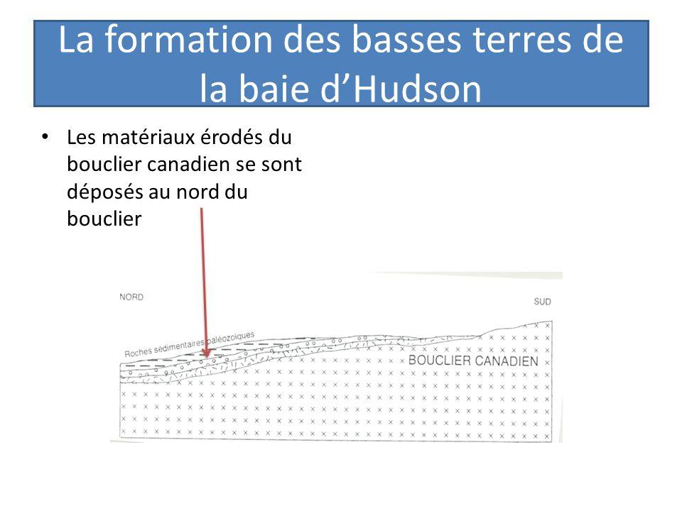 La formation des basses terres de la baie dHudson Les matériaux érodés du bouclier canadien se sont déposés au nord du bouclier