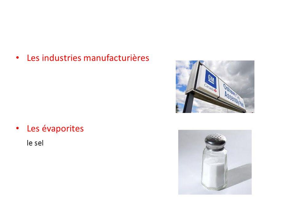 Les industries manufacturières Les évaporites le sel