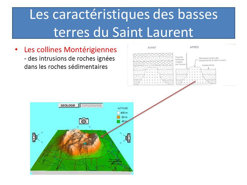 Les caractéristiques des basses terres du Saint Laurent Les collines Montérigiennes - des intrusions de roches ignées dans les roches sédimentaires