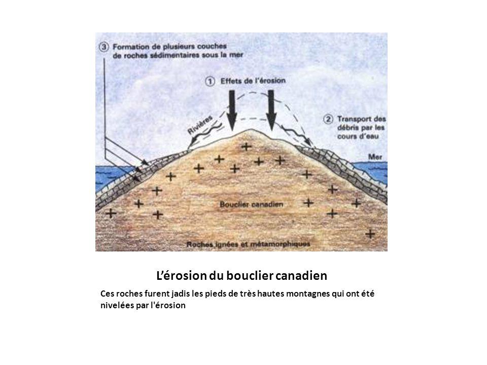 Lérosion du bouclier canadien Ces roches furent jadis les pieds de très hautes montagnes qui ont été nivelées par l'érosion