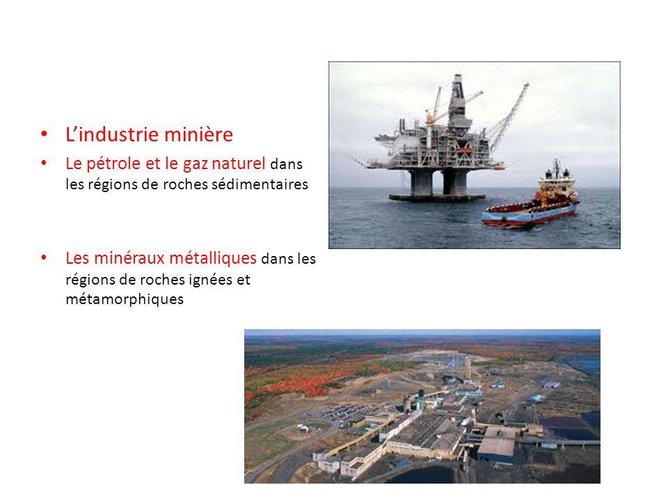 Lindustrie minière Le pétrole et le gaz naturel dans les régions de roches sédimentaires Les minéraux métalliques dans les régions de roches ignées et