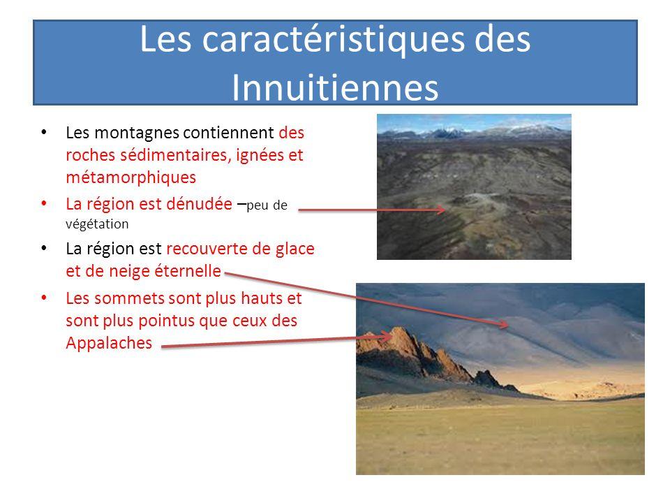 Les caractéristiques des Innuitiennes Les montagnes contiennent des roches sédimentaires, ignées et métamorphiques La région est dénudée – peu de végé