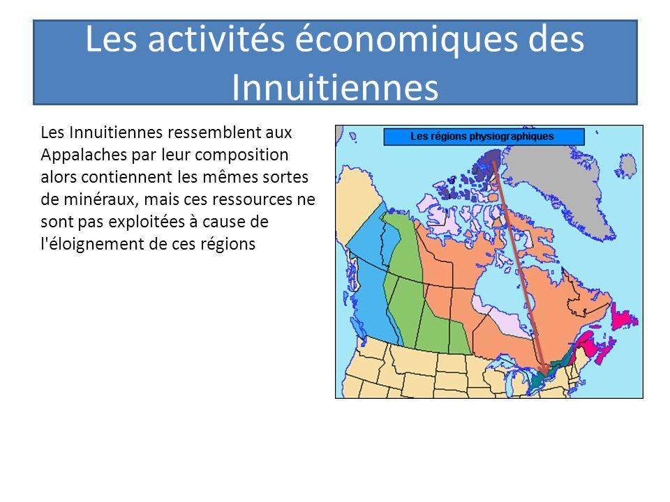 Les activités économiques des Innuitiennes Les Innuitiennes ressemblent aux Appalaches par leur composition alors contiennent les mêmes sortes de miné