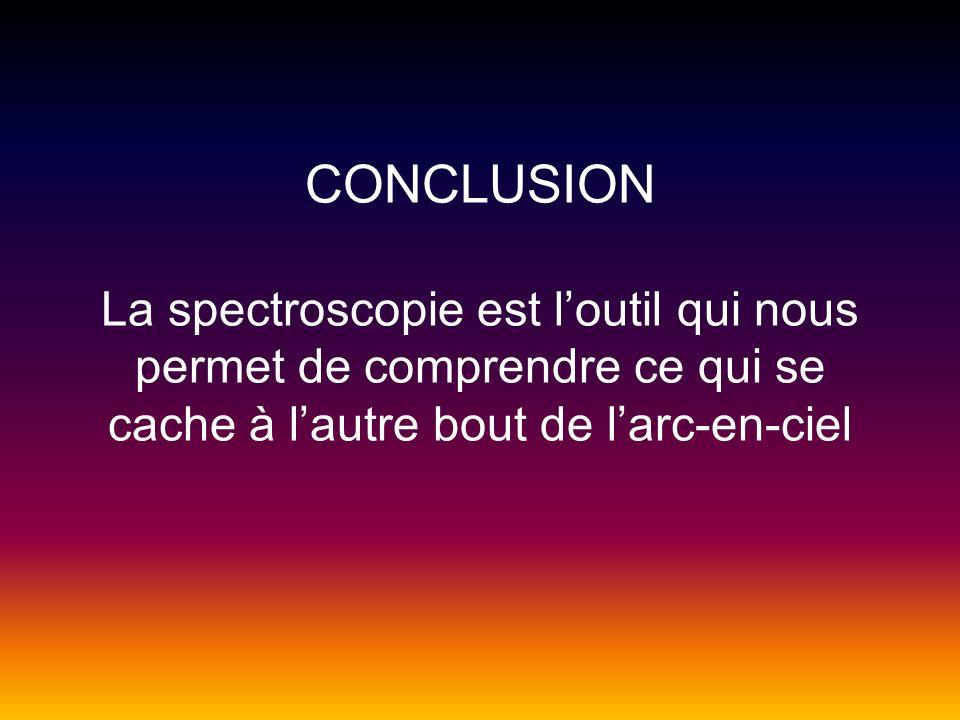 CONCLUSION La spectroscopie est loutil qui nous permet de comprendre ce qui se cache à lautre bout de larc-en-ciel