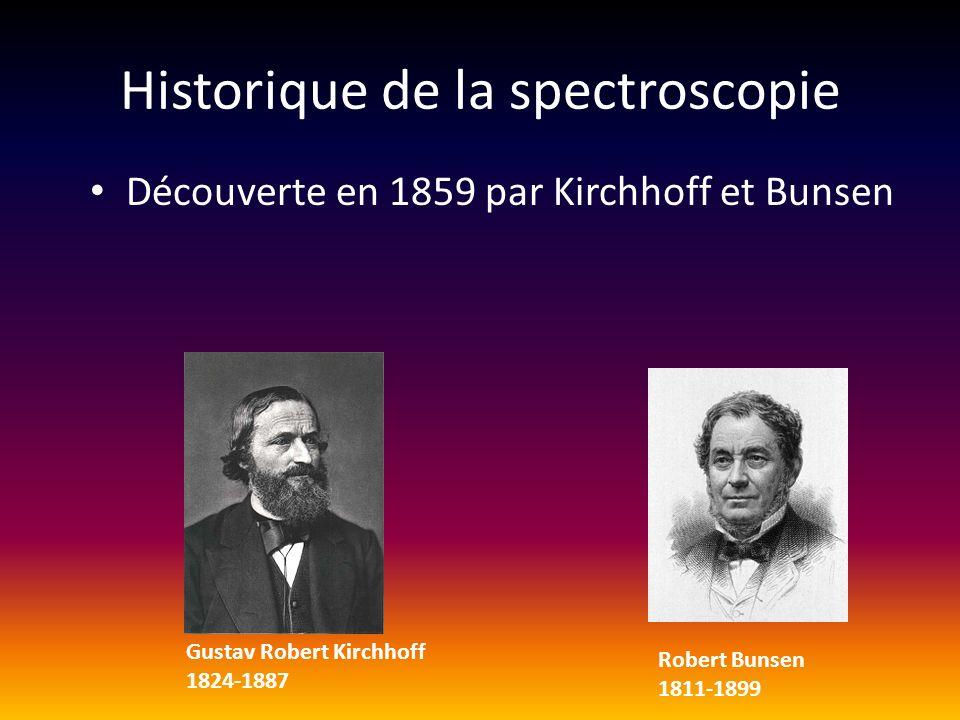 Historique de la spectroscopie Découverte en 1859 par Kirchhoff et Bunsen Gustav Robert Kirchhoff 1824-1887 Robert Bunsen 1811-1899