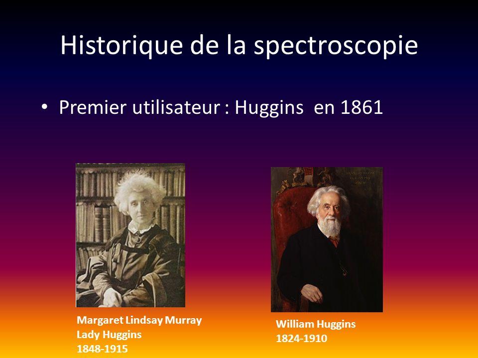 Historique de la spectroscopie Premier utilisateur : Huggins en 1861 Margaret Lindsay Murray Lady Huggins 1848-1915 William Huggins 1824-1910