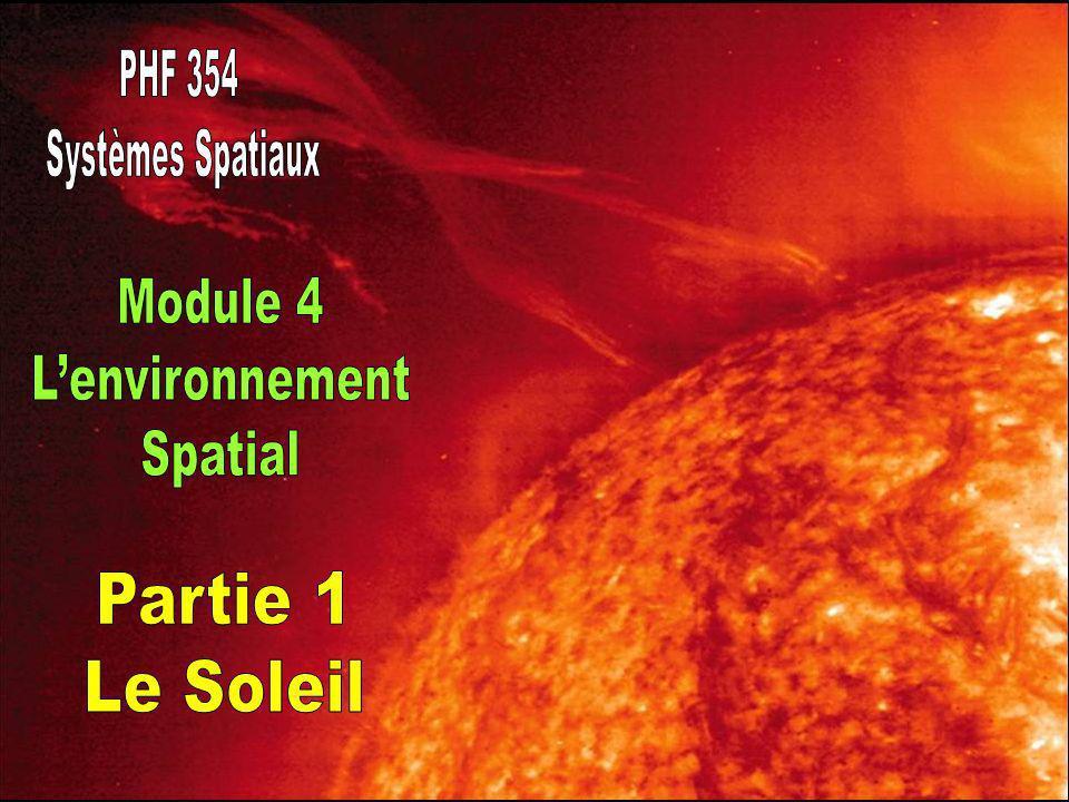 Le soleil exerce le plus grand effet sur l environnement spatial terrestre et interplanétaire Distance de la terre (unité astronomique, UA) = 1.496 x 10 11 m Masse = 1.99 x 10 30 kg Rayon = 6.96 x 10 8 m Luminosité = 3.83 x 10 26 W Température (surface) = 5780 K Composition ~75% H ~24% He Période de rotation (équateur) ~25 d (pole) ~35 d
