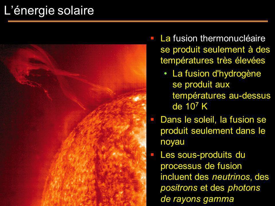 La fusion thermonucléaire se produit seulement à des températures très élevées La fusion d'hydrogène se produit aux températures au-dessus de 10 7 K D