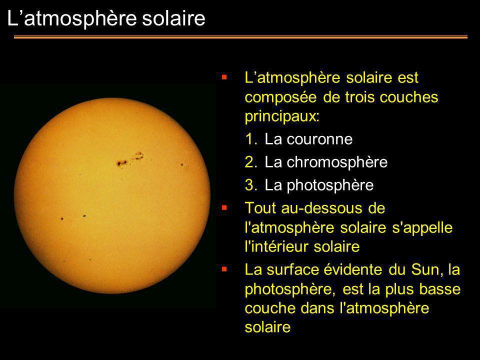 Latmosphère solaire est composée de trois couches principaux: 1.La couronne 2.La chromosphère 3.La photosphère Tout au-dessous de l'atmosphère solaire