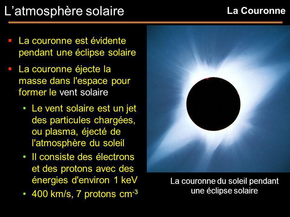 La couronne est évidente pendant une éclipse solaire La couronne éjecte la masse dans l'espace pour former le vent solaire Latmosphère solaire Le vent