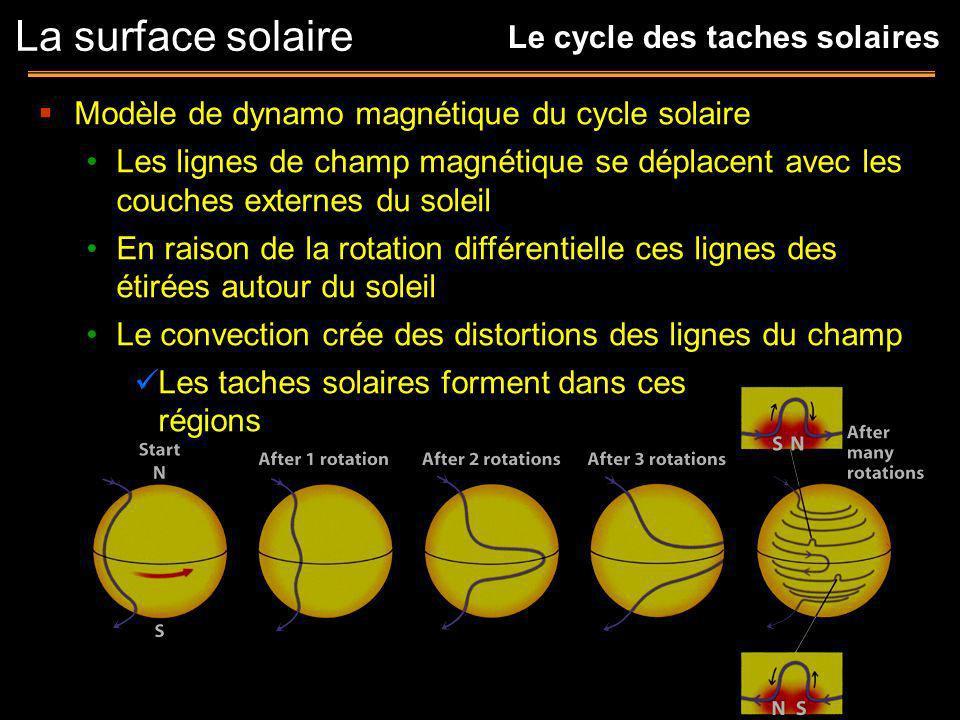 Modèle de dynamo magnétique du cycle solaire Les lignes de champ magnétique se déplacent avec les couches externes du soleil En raison de la rotation