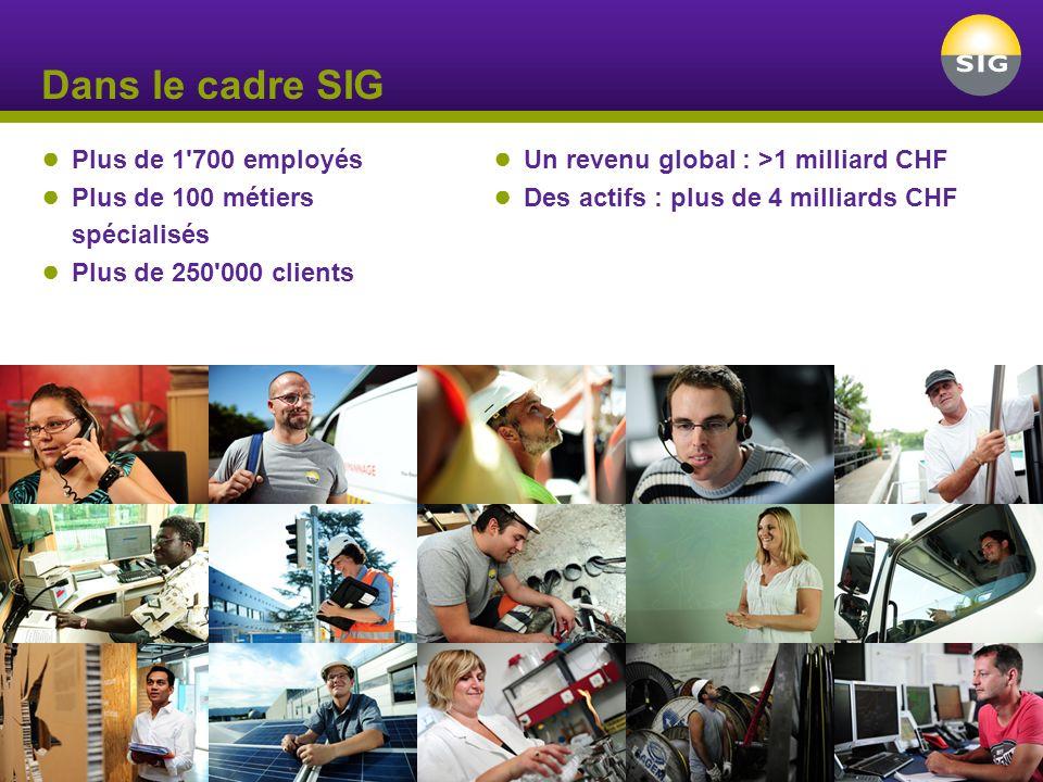 Dans le cadre SIG Plus de 1'700 employés Plus de 100 métiers spécialisés Plus de 250'000 clients Un revenu global : >1 milliard CHF Des actifs : plus