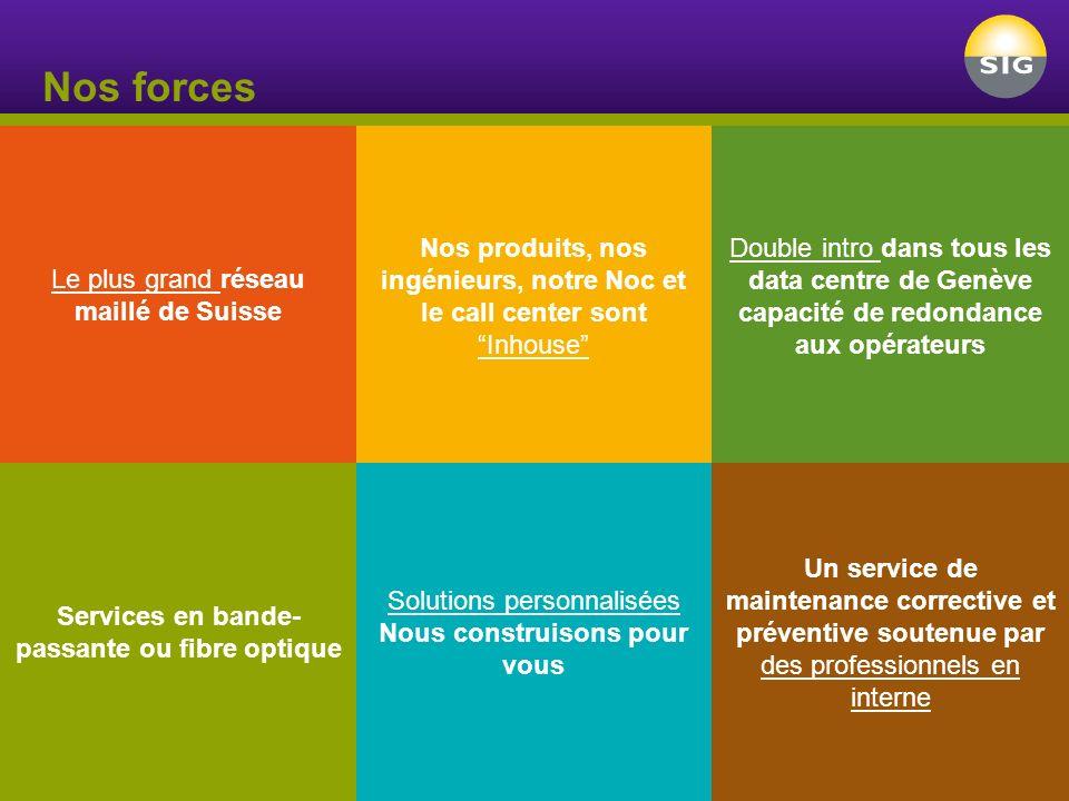 Nos forces Le plus grand réseau maillé de Suisse Services en bande- passante ou fibre optique Nos produits, nos ingénieurs, notre Noc et le call cente