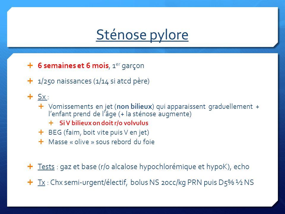 Sténose pylore 6 semaines et 6 mois, 1 er garçon 1/250 naissances (1/14 si atcd père) Sx : Vomissements en jet (non bilieux) qui apparaissent graduell