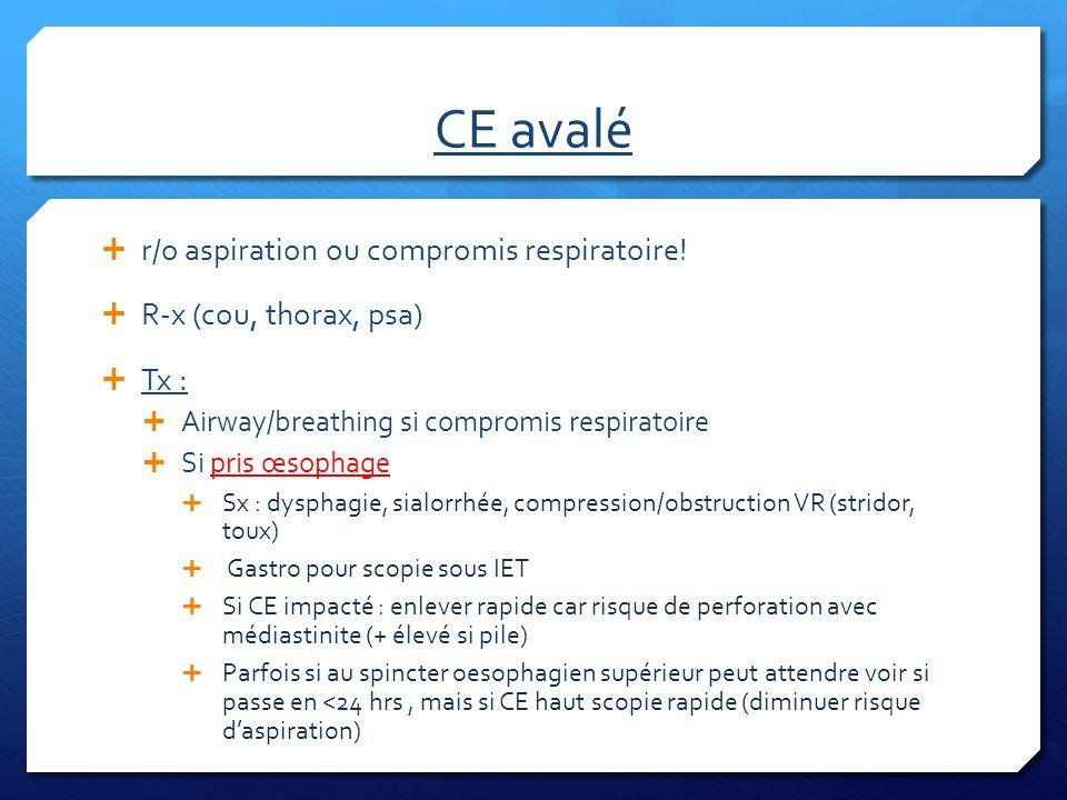 CE avalé r/o aspiration ou compromis respiratoire! R-x (cou, thorax, psa) Tx : Airway/breathing si compromis respiratoire Si pris œsophage Sx : dyspha