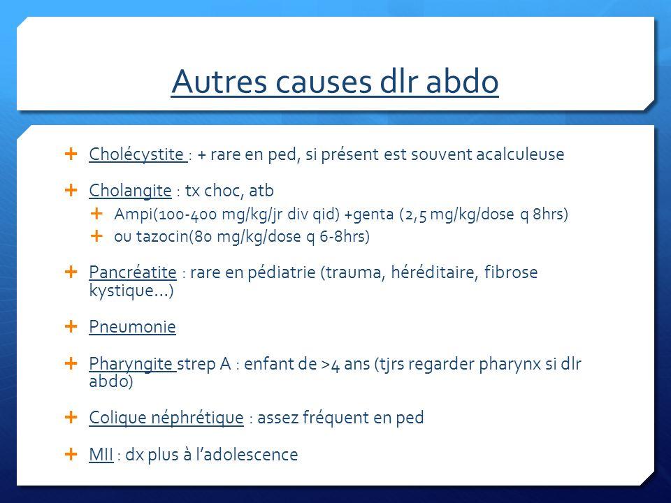 Autres causes dlr abdo Cholécystite : + rare en ped, si présent est souvent acalculeuse Cholangite : tx choc, atb Ampi(100-400 mg/kg/jr div qid) +gent